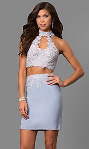 Image of Faviana high-neck short two-piece homecoming dress.  Style: FA-8071 Detail Image 1