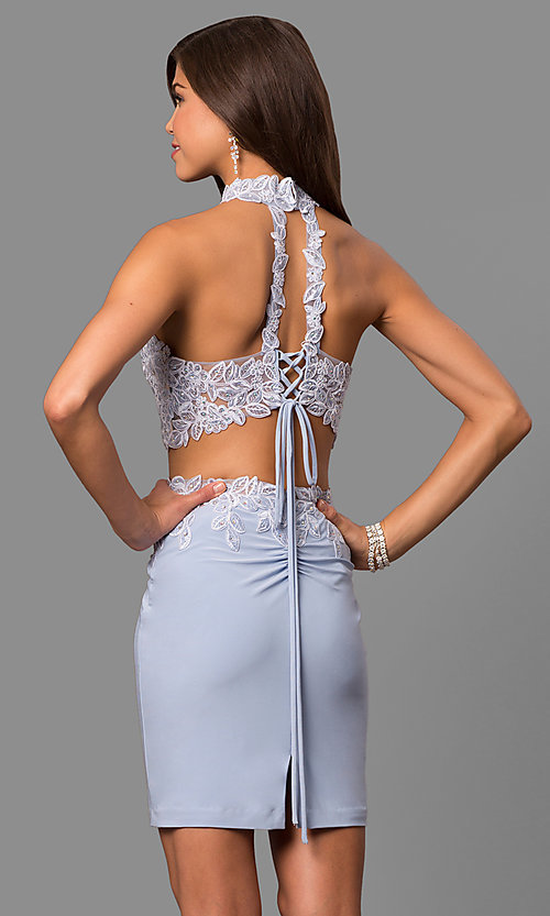 Image of Faviana high-neck short two-piece homecoming dress.  Style: FA-8071 Back Image