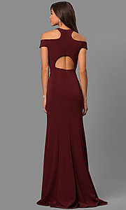 Image of cold-shoulder long formal dress with back cut out. Style: FA-8086 Back Image