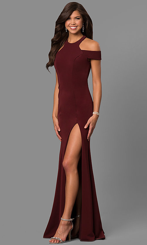 Image of cold-shoulder long formal dress with back cut out. Style: FA-8086 Detail Image 1