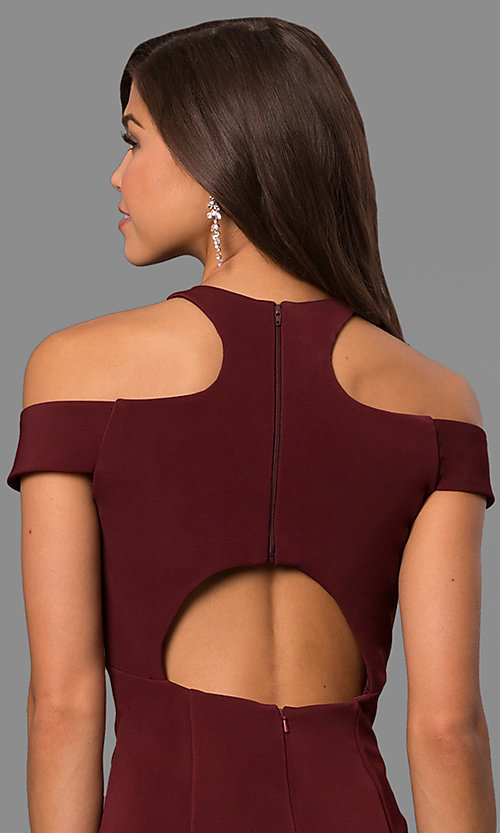 Image of cold-shoulder long formal dress with back cut out. Style: FA-8086 Detail Image 3