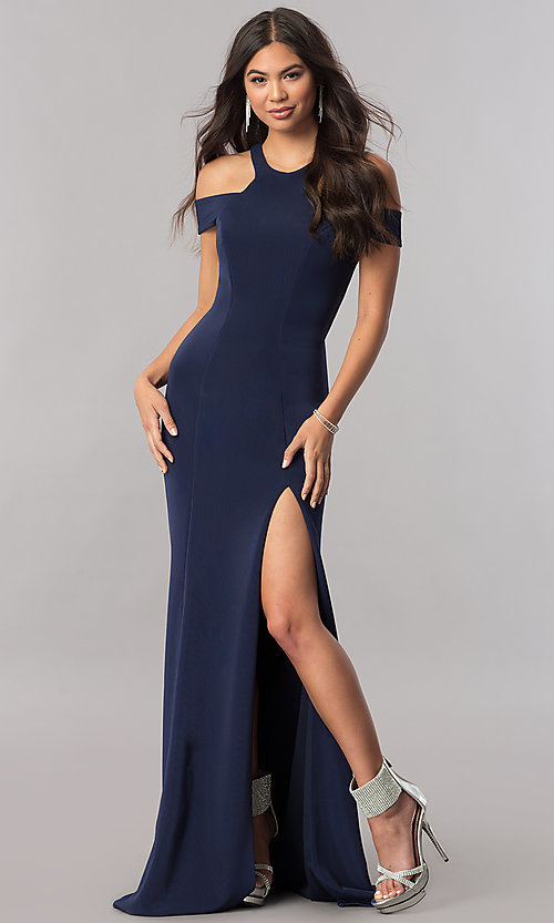 Image of cold-shoulder long formal dress with back cut out. Style: FA-8086 Front Image