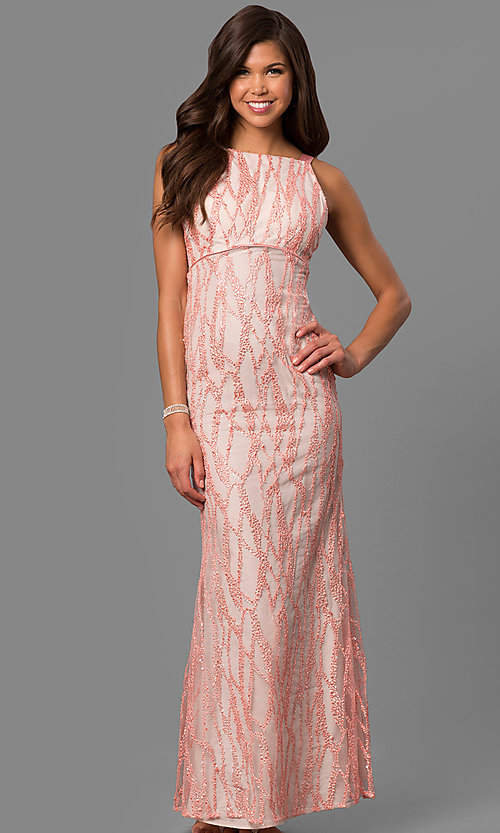 Empire-Waist Long Pink Formal Dress with Sequins