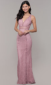 Image of empire-waist lace long prom dress with train. Style: MT-8325-1 Front Image