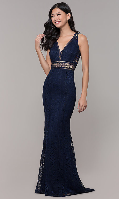 Image of empire-waist lace long prom dress with train. Style: MT-8325-1 Detail Image 3
