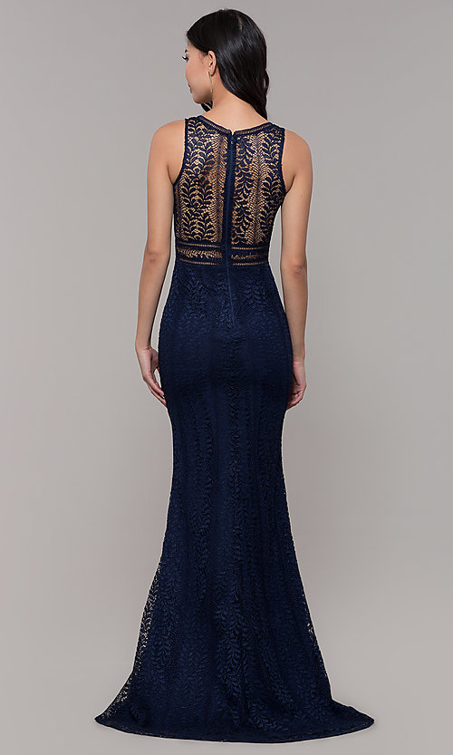 Image of empire-waist lace long prom dress with train. Style: MT-8325-1 Detail Image 4