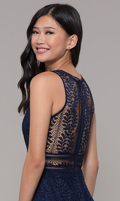 Image of empire-waist lace long prom dress with train. Style: MT-8325-1 Detail Image 6