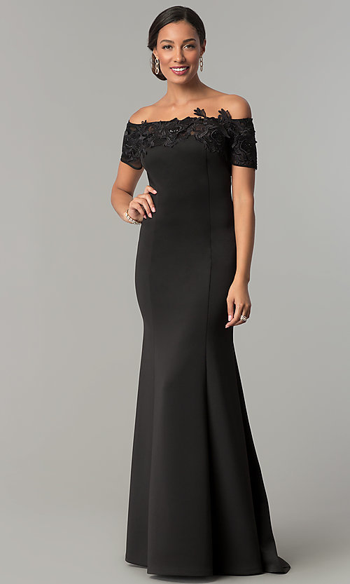 Image of long mother-of-the-bride off-the-shoulder dress. Style: IT-3601 Front Image