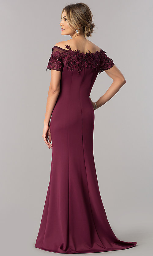 Image of long mother-of-the-bride off-the-shoulder dress. Style: IT-3601 Back Image