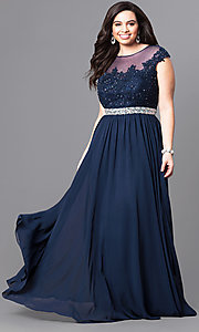 Image of long navy blue plus-size dress with beaded bodice.  Style: DQ-9400Pn Front Image