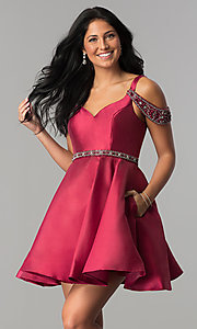 Image of short sangria red homecoming dress with pockets. Style: BL-PG063 Front Image