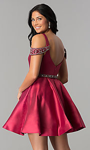 Image of short sangria red homecoming dress with pockets. Style: BL-PG063 Back Image