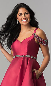 Image of short sangria red homecoming dress with pockets. Style: BL-PG063 Detail Image 1