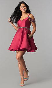 Image of short sangria red homecoming dress with pockets. Style: BL-PG063 Detail Image 2