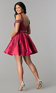 Image of short sangria red homecoming dress with pockets. Style: BL-PG063 Detail Image 3