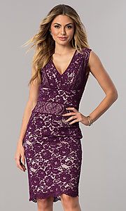 Image of dark berry purple short v-neck lace cocktail dress. Style: SG-SBAC1204 Front Image
