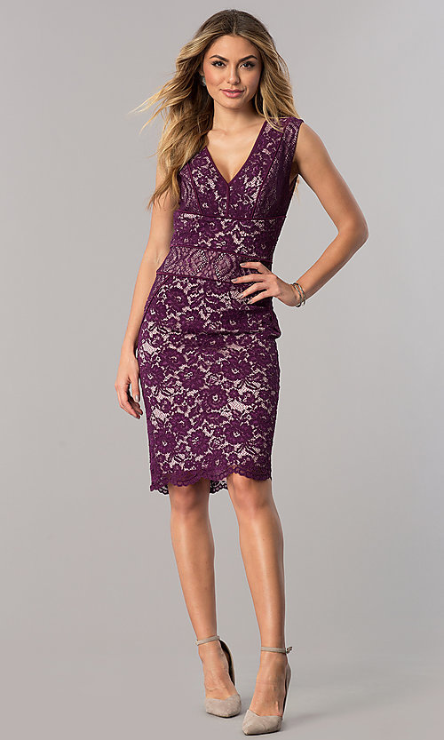 Image of dark berry purple short v-neck lace cocktail dress. Style: SG-SBAC1204 Detail Image 1