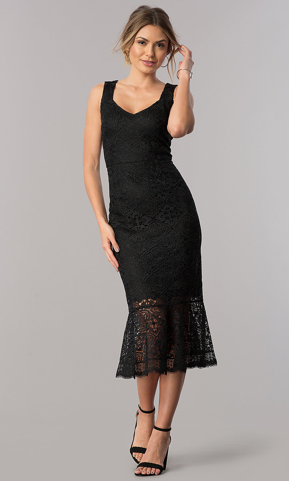 Midi Black Lace Wedding Guest Party Sheath Dress