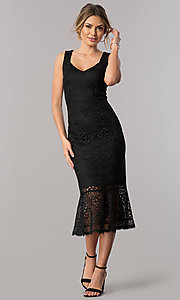 Image of lace sheath black midi wedding-guest party dress. Style: JX-1ZVA241Q Front Image