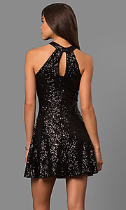 Image of high-neck short sequin party dress with back keyhole.  Style: MCR-1954 Back Image
