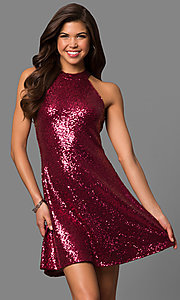 Image of high-neck short sequin party dress with back keyhole.  Style: MCR-1954 Front Image