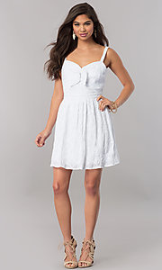 Image of short white semi-casual cruise party dress with bow. Style: EM-FBH-2945-100 Detail Image 1