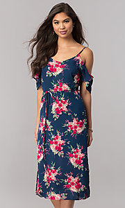 Image of cold-shoulder short wedding-guest print party dress.  Style: EM-FCB-2956-434 Front Image