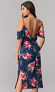 Image of cold-shoulder short wedding-guest print party dress.  Style: EM-FCB-2956-434 Back Image