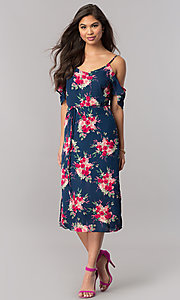 Image of cold-shoulder short wedding-guest print party dress.  Style: EM-FCB-2956-434 Detail Image 1