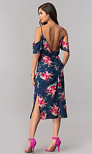 Image of cold-shoulder short wedding-guest print party dress.  Style: EM-FCB-2956-434 Detail Image 2