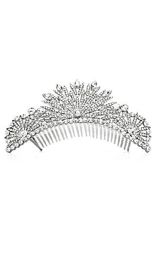 Clear Crystal and Silver Fanned Tiara Comb