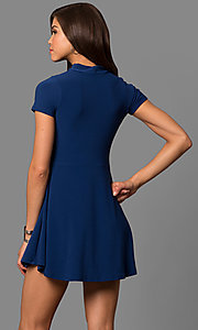 Image of short high-neck choker-collar navy blue party dress. Style: CH-2869S Back Image