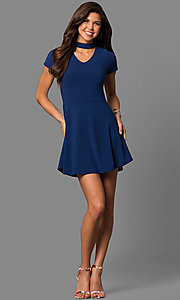 Image of short high-neck choker-collar navy blue party dress. Style: CH-2869S Detail Image 1
