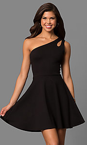 Image of short party dress with one-shoulder neckline. Style: CH-2911 Front Image