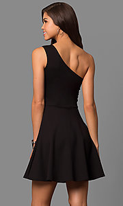 Image of short party dress with one-shoulder neckline. Style: CH-2911 Back Image
