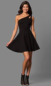 Image of short party dress with one-shoulder neckline. Style: CH-2911 Detail Image 1
