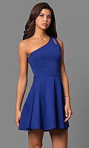 Image of short party dress with one-shoulder neckline. Style: CH-2911 Detail Image 2