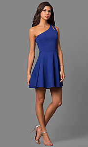 Image of short party dress with one-shoulder neckline. Style: CH-2911 Detail Image 3