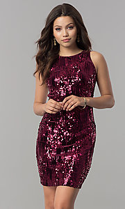 Image of high-neck short wine red sequin homecoming dress Style: EM-DHU-3217-550 Front Image