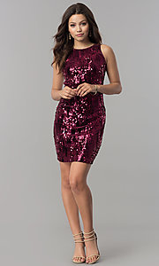 Image of high-neck short wine red sequin homecoming dress Style: EM-DHU-3217-550 Detail Image 1
