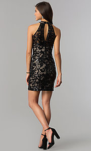 Image of black-sequin short homecoming dress with nude lining.  Style: EM-FJS-3342-018 Detail Image 2