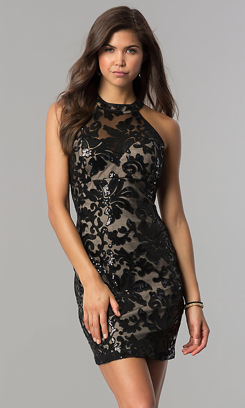 Image of black-sequin short homecoming dress with nude lining.  Style: EM-FJS-3342-018 Front Image