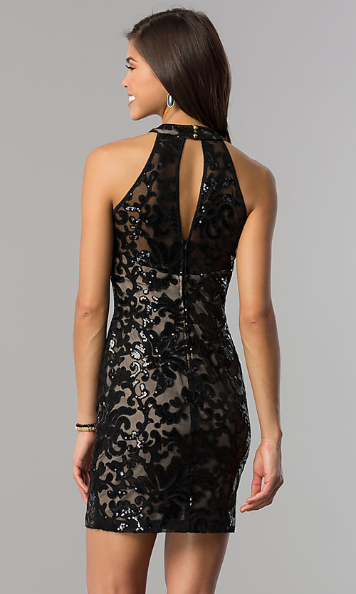 Image of black-sequin short homecoming dress with nude lining.  Style: EM-FJS-3342-018 Back Image