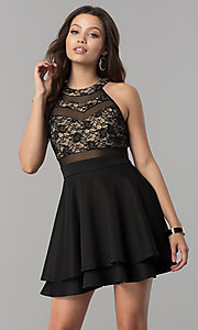 Image of short black homecoming dress with illusion lace. Style: EM-FLD-1000-018 Front Image