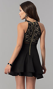 Image of short black homecoming dress with illusion lace. Style: EM-FLD-1000-018 Back Image