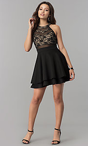 Image of short black homecoming dress with illusion lace. Style: EM-FLD-1000-018 Detail Image 1