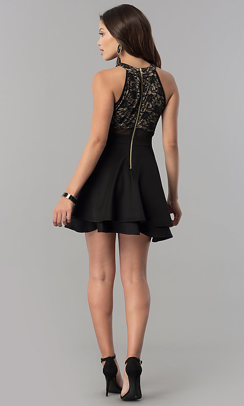 Image of short black homecoming dress with illusion lace. Style: EM-FLD-1000-018 Detail Image 2