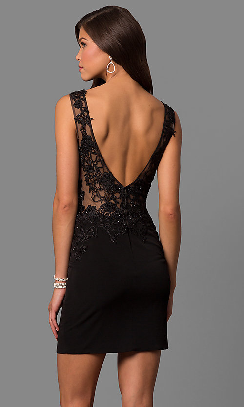 Image of JVNX by Jovani short homecoming party dress. Style: JO-JVNX57150 Back Image