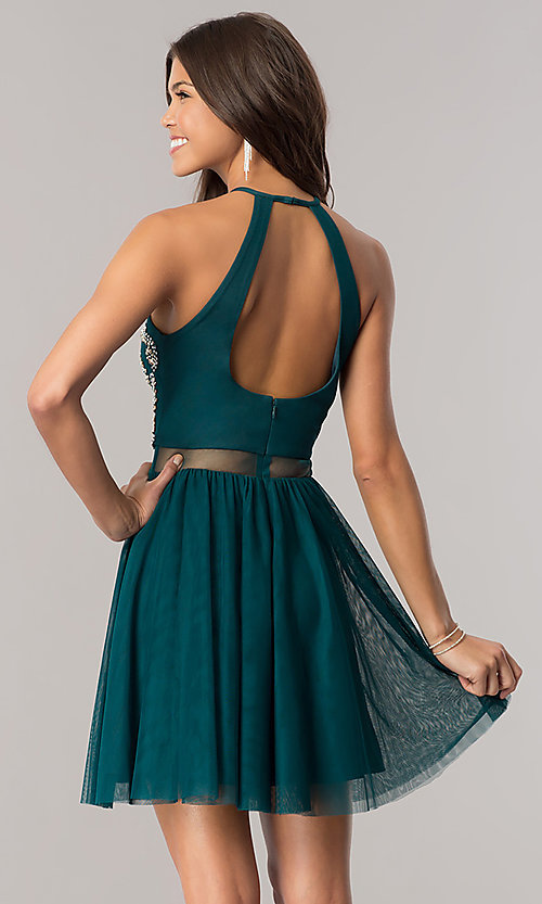 Image of emerald green short homecoming dress with sheer waist. Style: BN-57485 Back Image