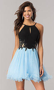 Image of a-line short homecoming dress with illusion sides. Style: BN-58050 Front Image